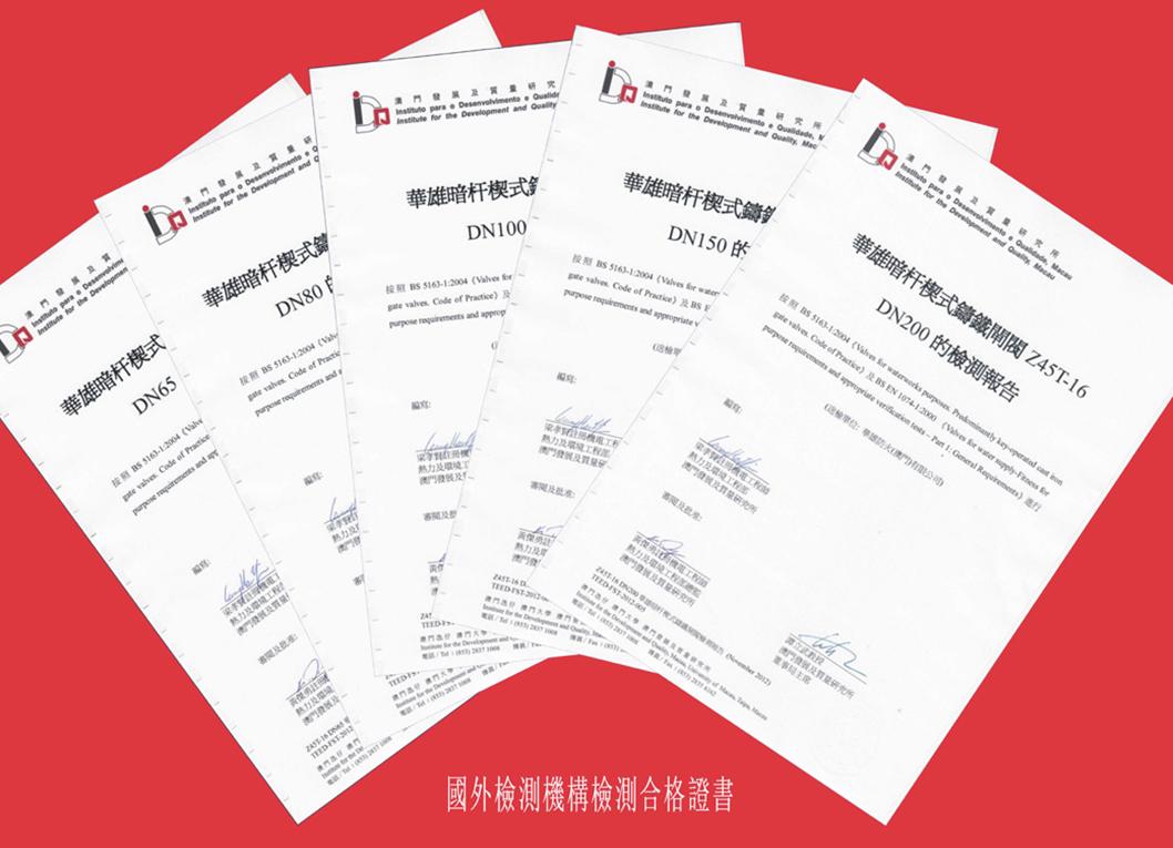 國外檢測機構檢測及格證書