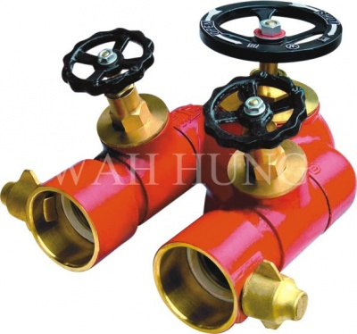 WH004  100mm Copper Alloy Individual Control Twin Outlet Valve