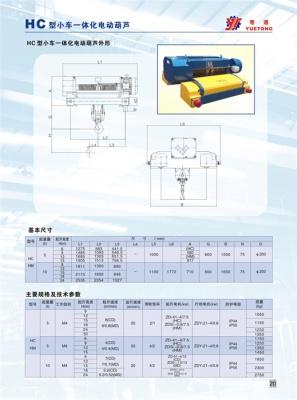 HC型5t-20t小车一体化钢丝绳电动葫芦