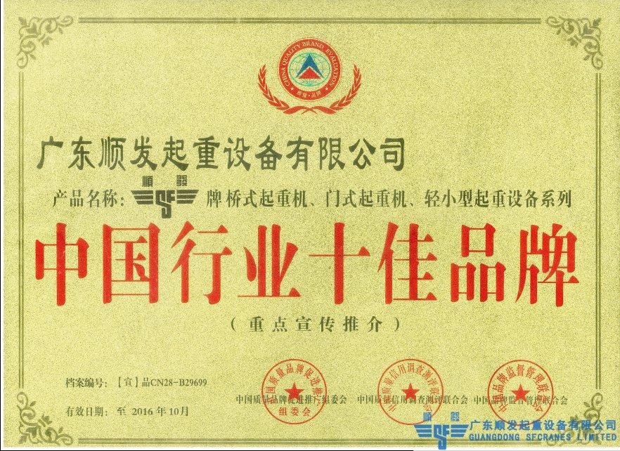 中國行業十佳品牌