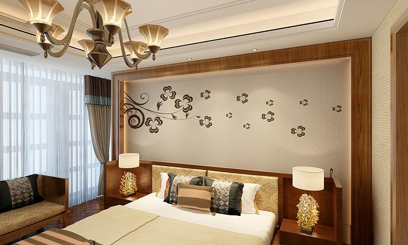 贝壳粉卧室床头图案3