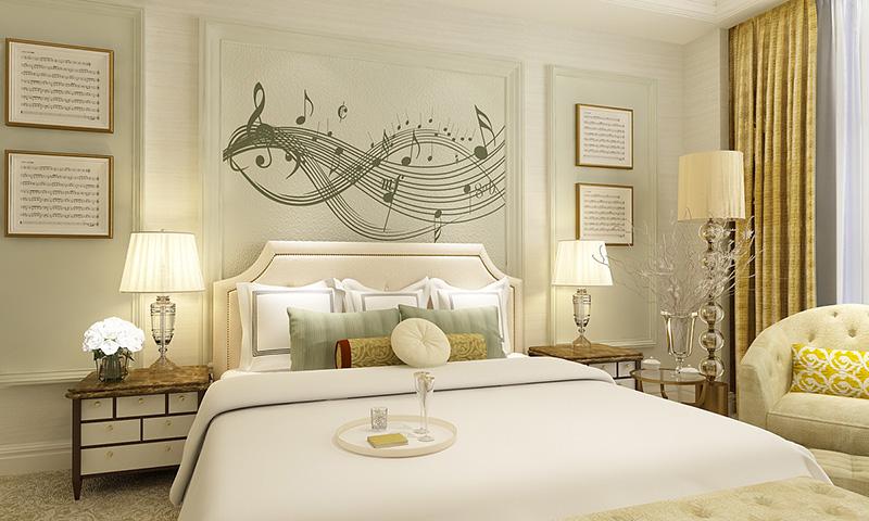 贝壳粉卧室床头图案4