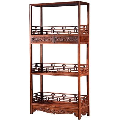 红木家具 缅甸花梨木书架 新中式实木古典置物架摆设架S6023