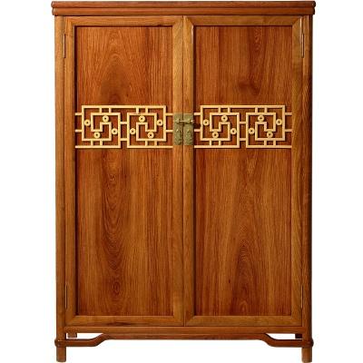 新中式全实木四门衣柜乌金木全体大衣柜古代实木收纳储物柜W3212