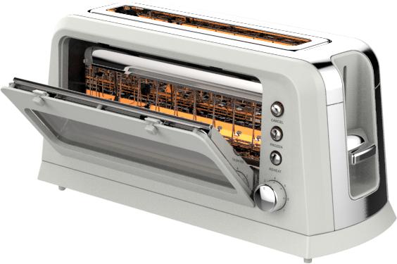 Long Slot Glass Toaster HX-5012A