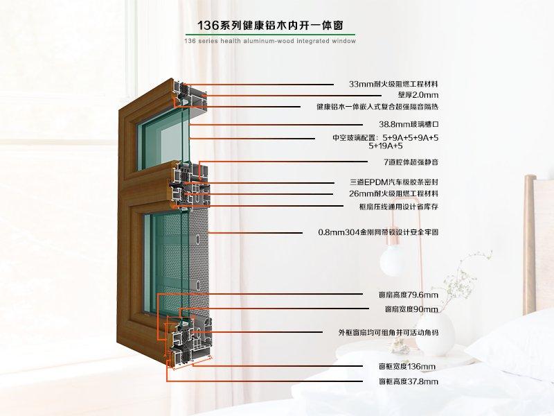 136系列窗纱一体健康型铝木节能内开窗
