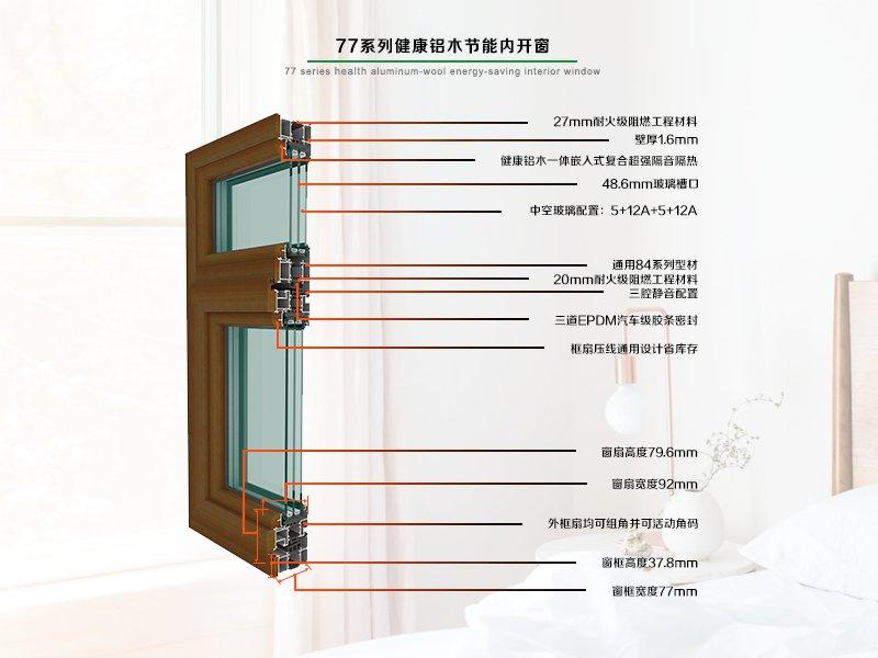 77节能系列健康型铝木内开窗