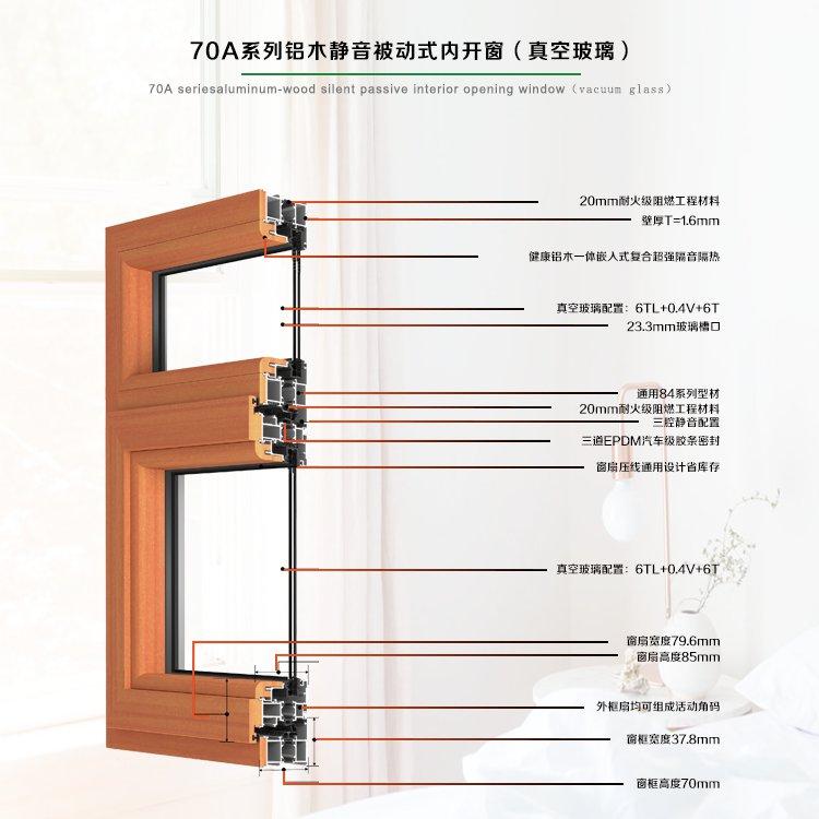 70A系列健康型铝木内平开门窗(真空玻璃)