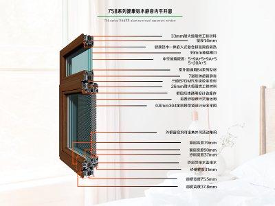 德重758静音系列健康型铝木内平开窗