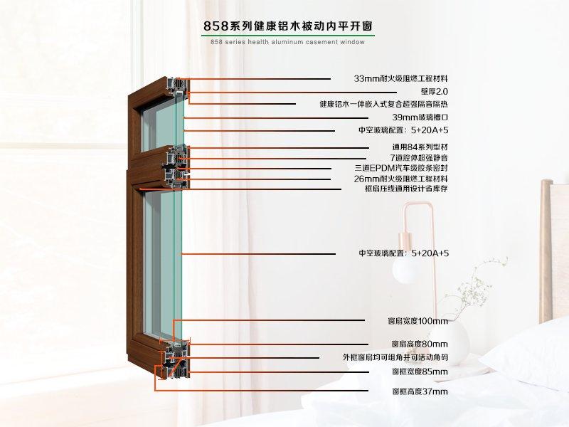 德重858系列健康型被动式铝木内平开窗