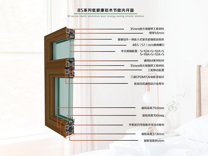 德重85节能系列健康型铝木内开窗