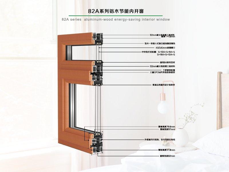 德重82A系列健康型铝木节能型内平开窗