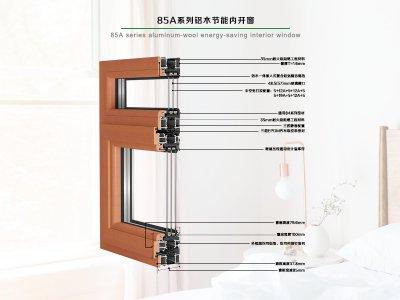 德重85A系列健康型铝木节能型内平开窗
