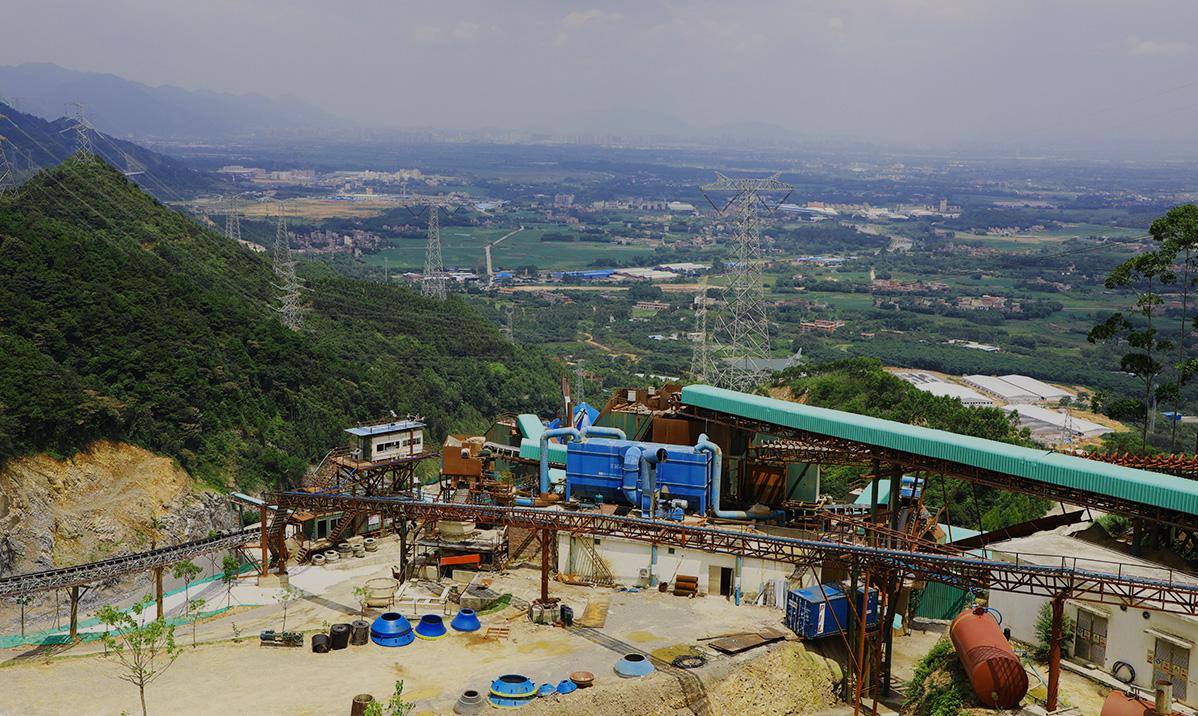 谷城砂石骨料生产线俯瞰图