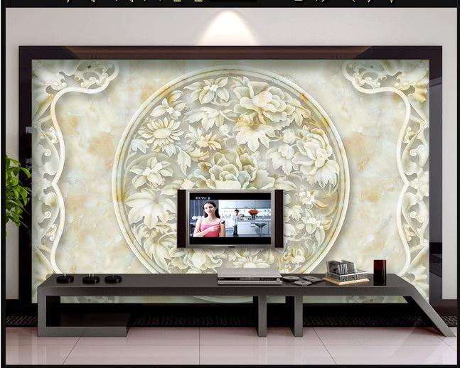 大理石富贵牡丹玉石浮雕电视沙发前台背景墙