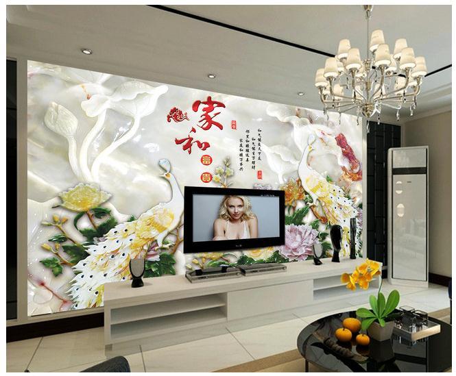高清玉雕家和富贵孔雀电视背景墙