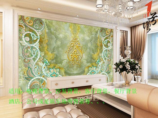 欧式复古花纹大理石背景墙