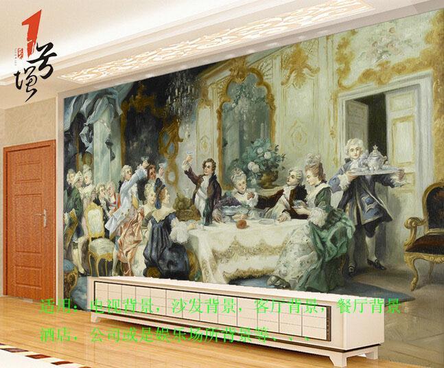 欧式宫廷贵族聚餐油画电视背景墙