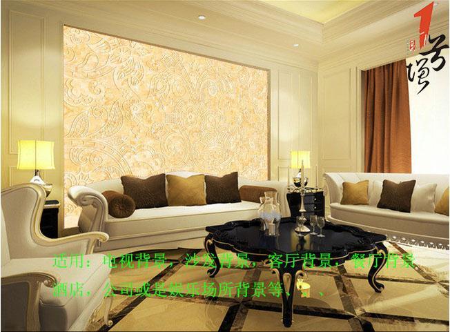 欧式金色花纹潮流线条电视背景墙
