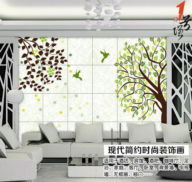 欧式绿色梦幻风景大树电视背景墙装饰画