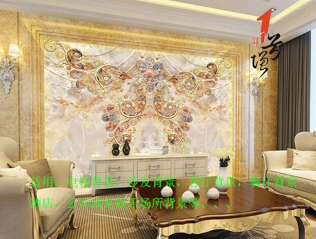 欧式梦蝶蝴蝶大理石材石纹欧式花纹电视背景墙