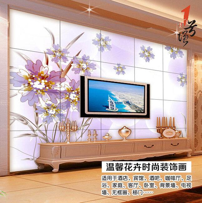 欧式唯美梦幻花朵电视背景墙装饰画
