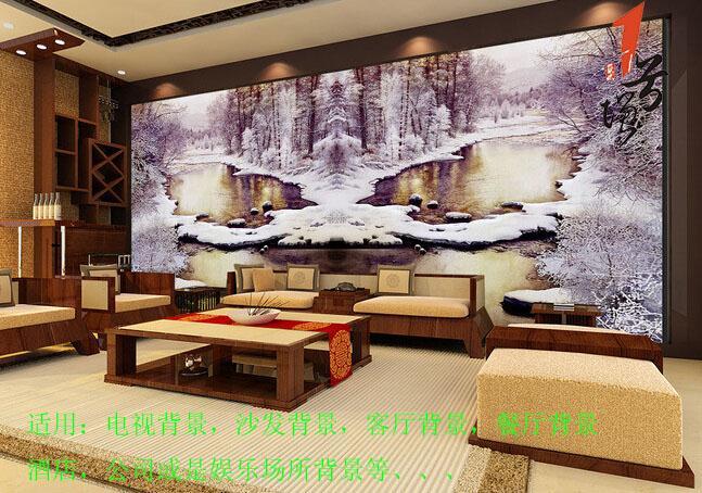 欧式油画雪山蝴蝶泉电视背景墙