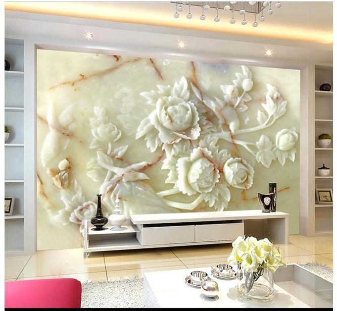 白玉牡丹玉雕背景墙