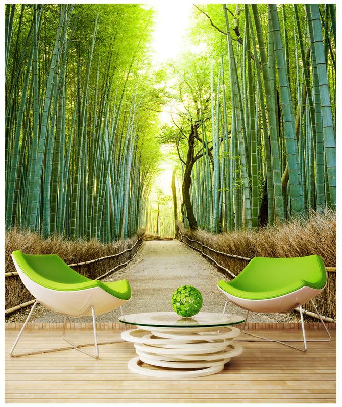 祼眼3D竹林风景壁画背景墙