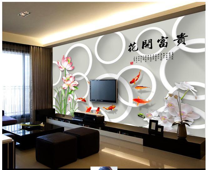 花开富贵荷花九鱼图3D立体壁画电视背景墙