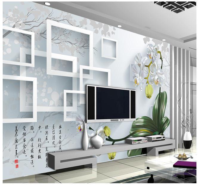 君子兰3D立体壁画电视背景墙
