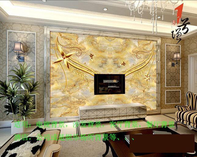 皇家贵族金黄色花纹电视背景墙