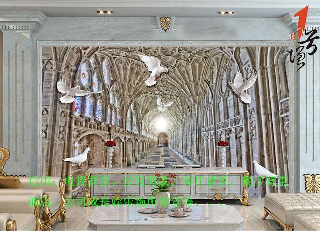欧式3D空间扩展和平鸽壁画电视背景墙