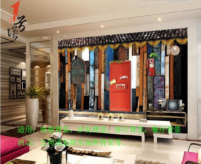 欧式彩色复古木板背景墙