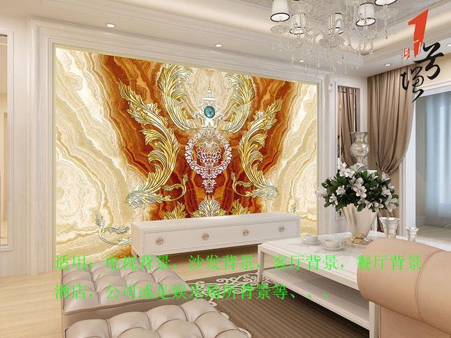 欧式皇室飞花客厅电视背景墙.tmp