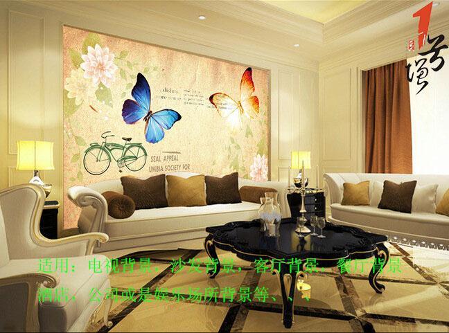 欧式欧美复古怀旧单车蝴蝶电视背景墙