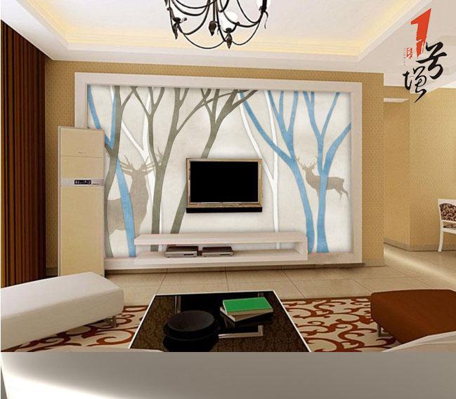 欧式树林电视背景墙