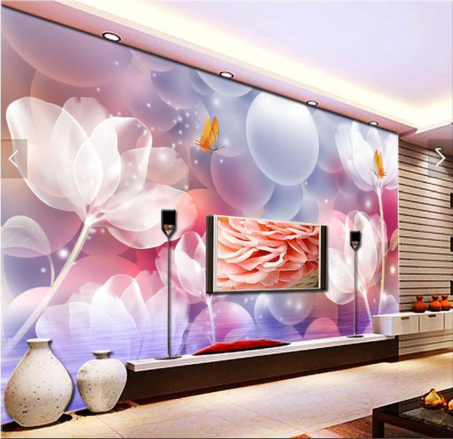 3D晶莹剔透百合花壁画客厅电视背景墙