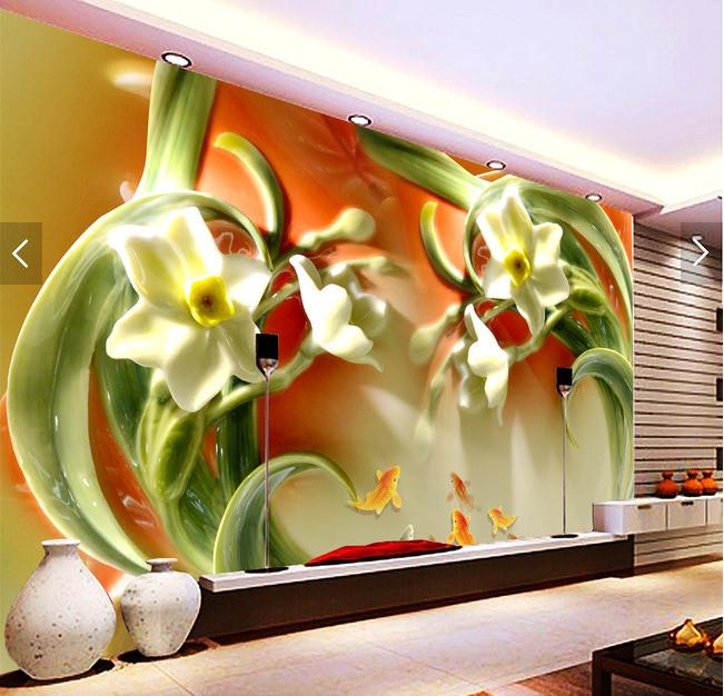 3D兰花家和富贵电视背景墙
