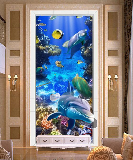 3D立体海底世界热带鱼群玄关过道装饰画