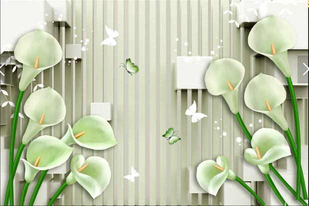 3D时尚马蹄莲电视背景墙