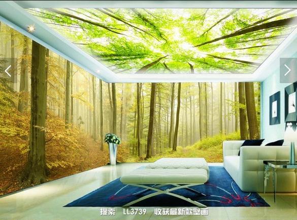 3D唯美清晨树林森林主题背景墙