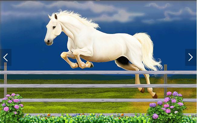 白马跨栏3D背景墙
