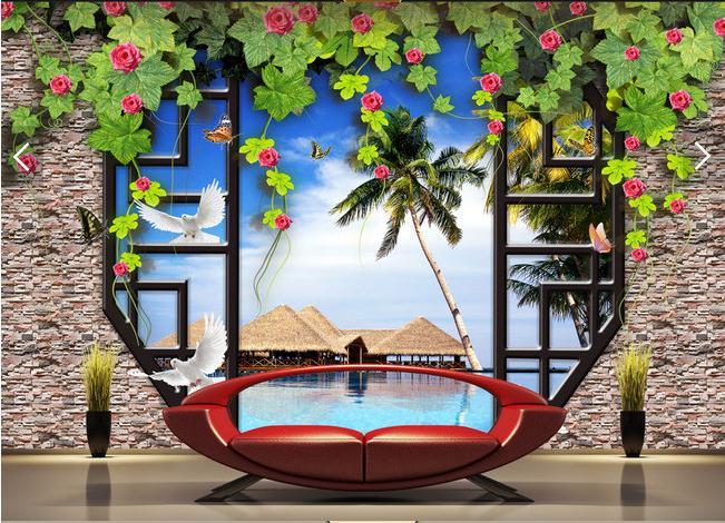 窗外的马尔代夫风景3D立体电视背景墙