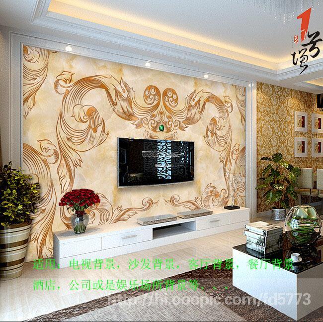 大气精美经典欧式花纹大理石电视沙发背景墙