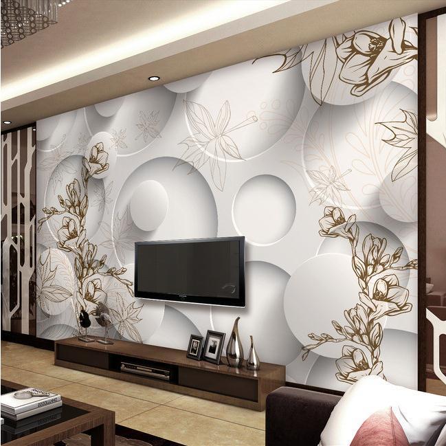 复古线描玉兰枫叶客厅3D电视沙发背景墙.tmp