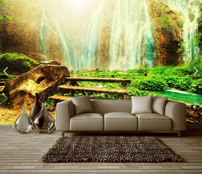 酒店背景墙 高山流水瀑布风景画3D立体背景墙