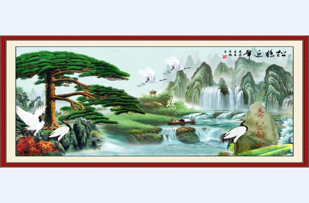 酒店背景墙 松鹤延年壁画