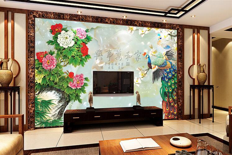 复合玻璃背景墙 高清玉雕家和富贵孔雀电视背景墙