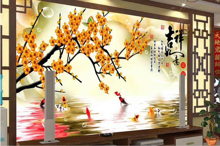 复合玻璃背景墙 九鱼梅花彩雕电视背景墙